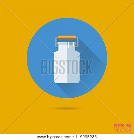milk canister flat design vector icon