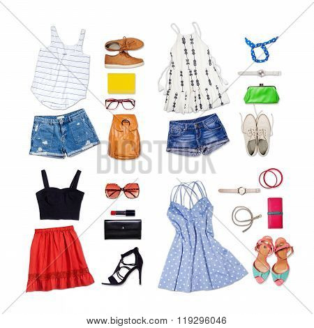 Overhead of clothes and woman accessories.
