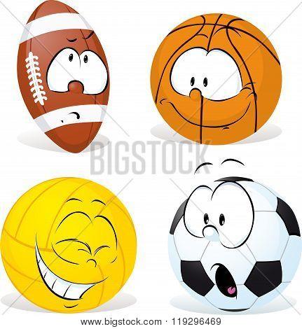Funny Sport Ball Cartoon Isolated - Vector Illustration