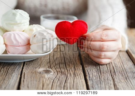 Woman Offer Red Toy Heart