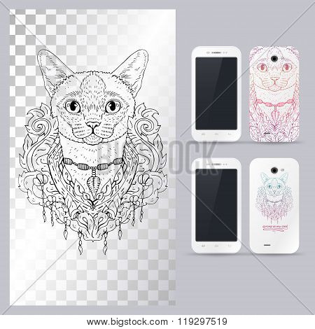 Black and white animal Cat head, boho style. Vector illustration for phone case.