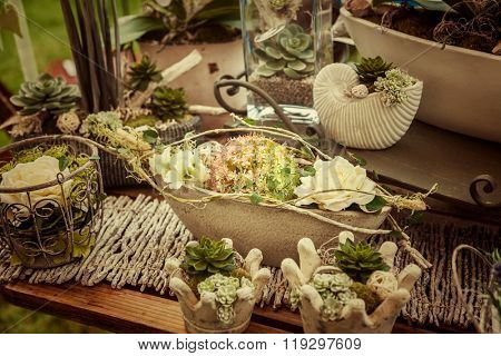 Garden decoration with wildflowers and succulents in vintage style