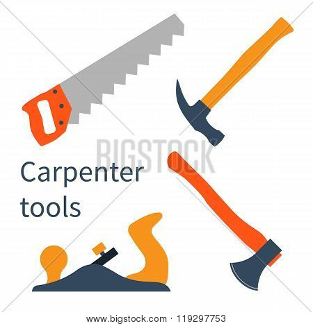 Tools In A Flat Style: Saw,  Ax, Hammer,  Jointer.  Tools  Carpenter. Vector