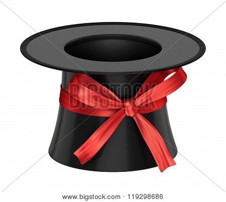 3D Rendered Black Decoration Top Hat With Red Ribbon
