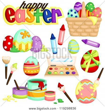 Easter Egg Painting Vector Set