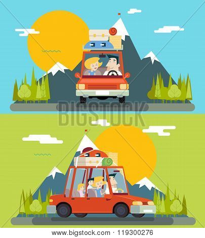 Car Trip Family Adult Children Road Concept Flat Design Icon Mountain Forest Background Vector Illus