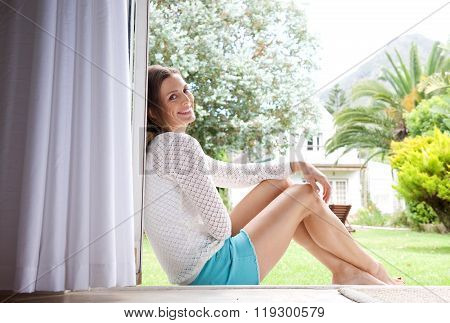 Attractive Woman Smiling At Home