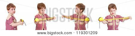 Little boy with measuring roulette on the white