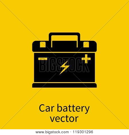 Car Battery Icon. Element Of Auto Parts. Black Silhouette Of The Car Battery On A Yellow Background.
