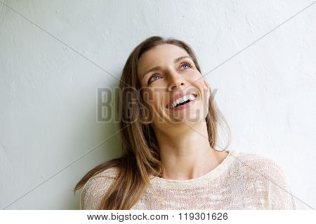 Smiling Older Woman Looking Up