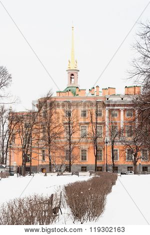 Mikhailovsky Castle In Winter, Snow. Saint-petersburg, Russia
