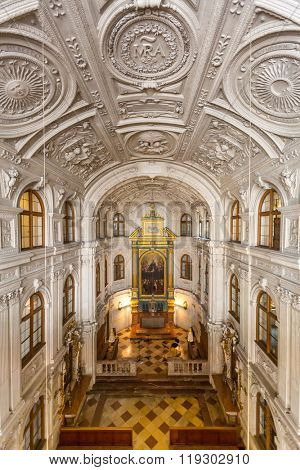 MUNICH, GERMANY - JULY 31: Interior of the Chapel in the Munich Residence on July 31, 2015 in Munich, Germany. The Residence is the former royal palace of the Bavarian monarchs