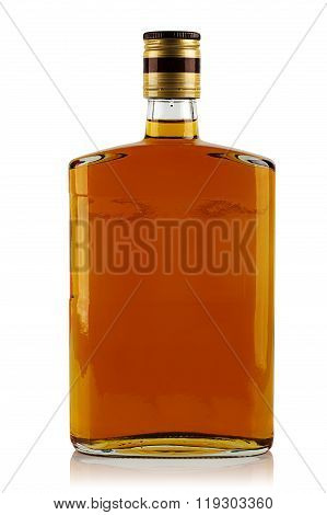 Bottle Of Liquor On A White Background In The Studio
