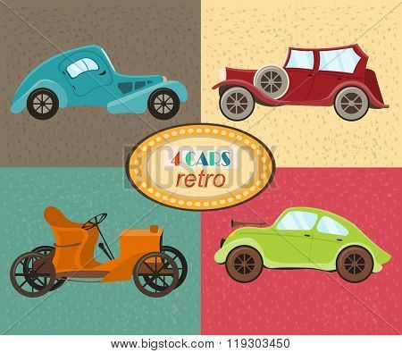 Vector set of four retro cars