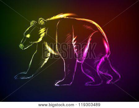 Bear. Hand Drawn Vector Illustration. Neon Style