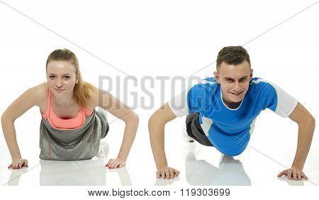 Teenagers Doing Pushups