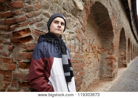 Teenager Outdoor Near A Wall