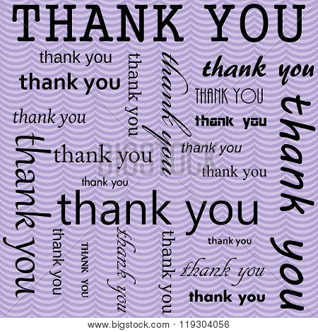 Thank You Design With Purple Wavy Stripes Tile Pattern Repeat Background