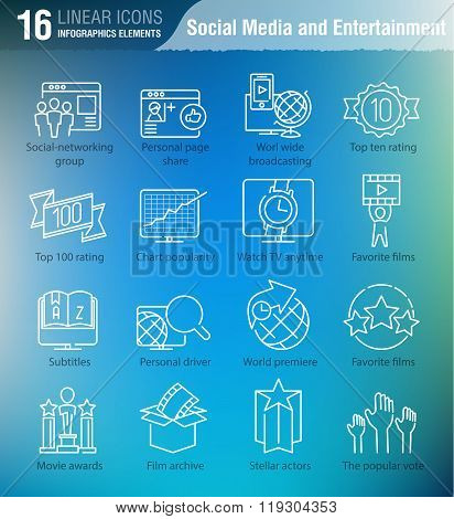 Miscellaneous Vector Thin Line Icons Set