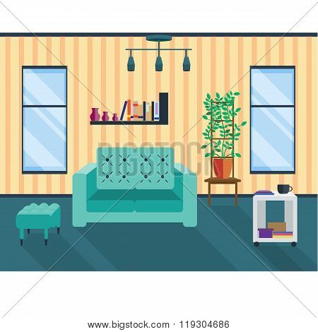 Living room with two windows