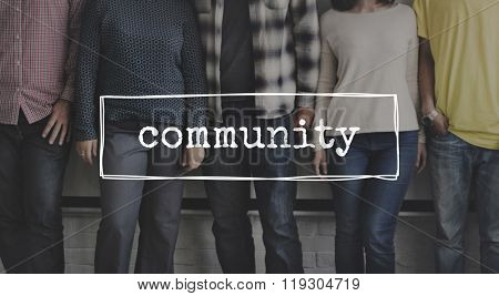 People Standing Together Comunity Concept