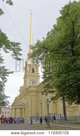 RUSSIA; SAINT-PETERSBURG- JULY 7 - Tourists visiting the Peter and Paul Fortress on July 7; 2015 in St. Petersburg