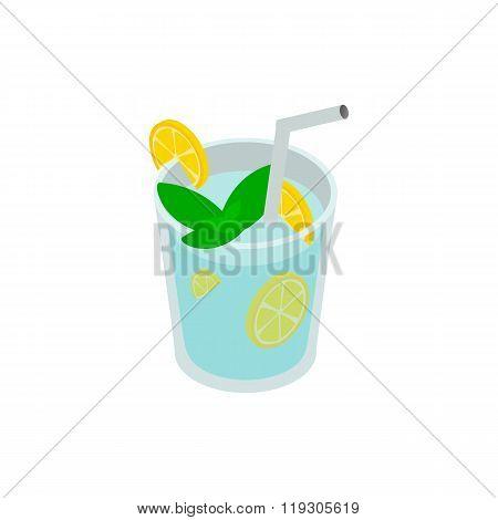 Caipirinha cocktail drink icon, isometric 3d style