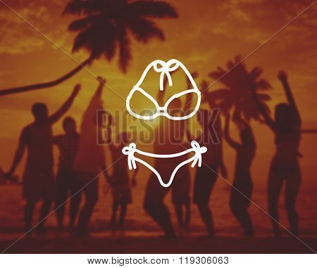 Diverse People Dancing Partying Tropical Beach Connept