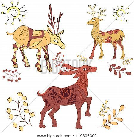 Vector decorated deers with nature elements