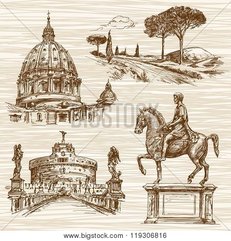 Rome. Hand drawn collection.