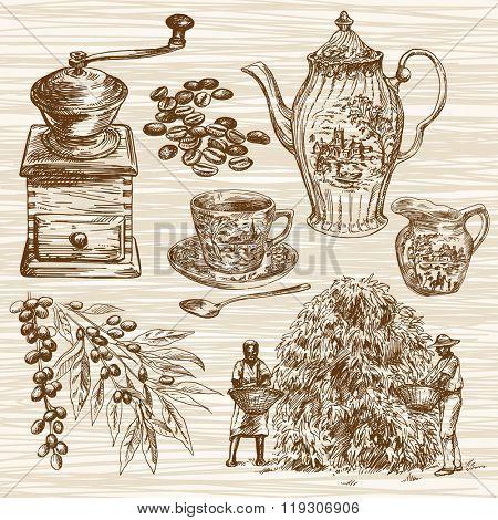 Coffee set. Hand drawn illustration