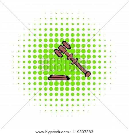Judge gavel icon, comics style