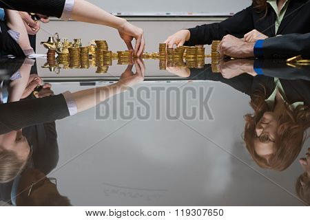 Businesspeople counting money