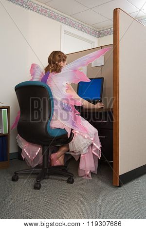 Office worker dressed as a fairy