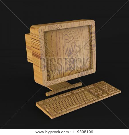 old PC with CRT monitor and keyboard made of shiny gold