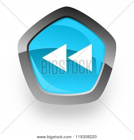 rewind blue metallic chrome web pentagon glossy icon