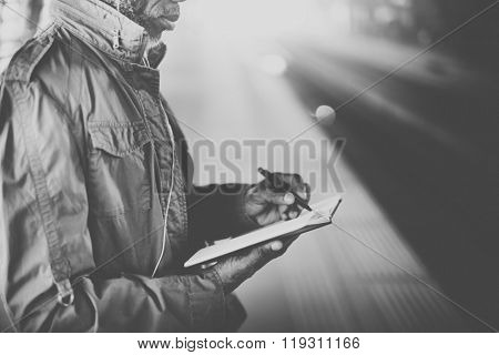 Business Mam Standing Tablet Platform Concept