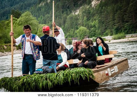 Tourists Raft On The Dunajec River, South Of Poland