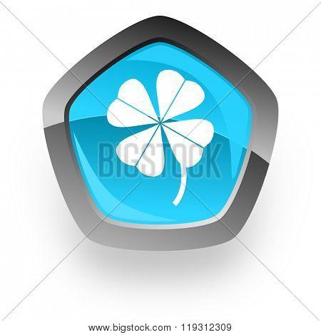 four-leaf clover blue metallic chrome web pentagon glossy icon