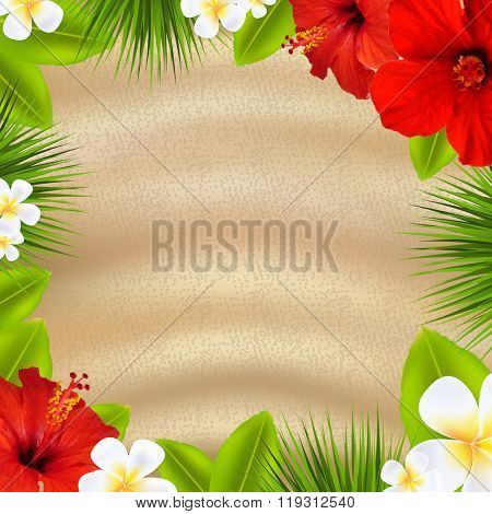 Tropical Poster With Flowers