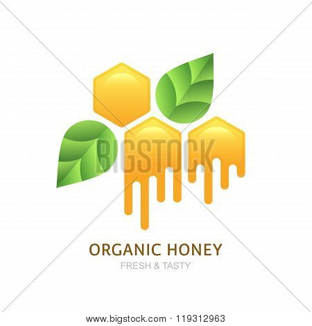 Organic Honey Logo, Icon, Label Vector Design Elements.