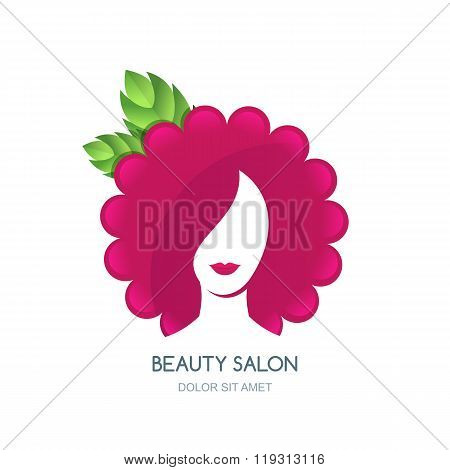 Female Face Silhouette On Flower Or Raspberry Background. Negative Space Vector Logo Design.