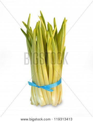 Bunches of fresh ramson isolated on white background.