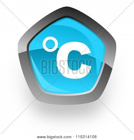 celsius blue metallic chrome web pentagon glossy icon