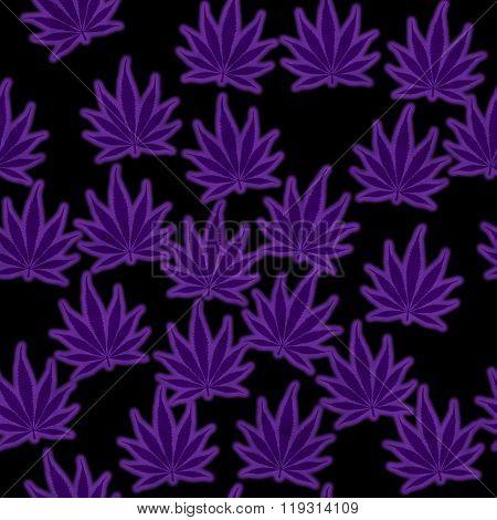 Purple Marijuana Leaf Pattern Repeat Background