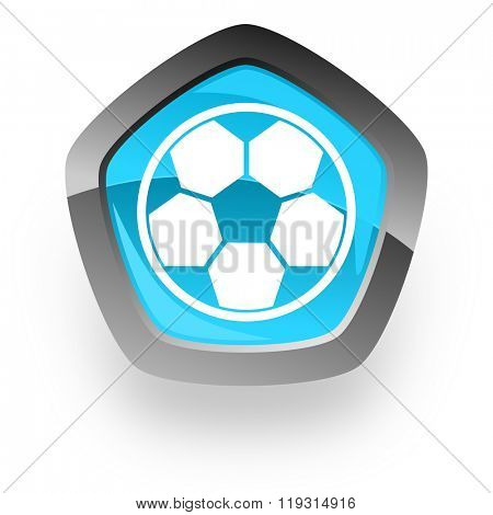 soccer blue metallic chrome web pentagon glossy icon