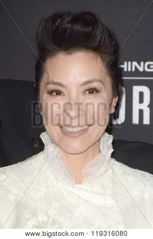 LOS ANGELES - FEB 22:  Michelle Yeoh at the Crouching Tiger  Hidden Dragon - Sword of Destiny Premiere at the AMC Universal Citywalk on February 22, 2016 in Universal City, CA