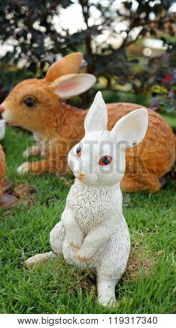Rabbit sculpture as garden decoration