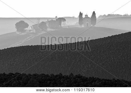 Tuscany Bw Landscape