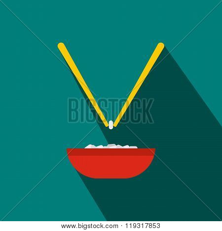 Bowl of rice with pair of chopsticks icon